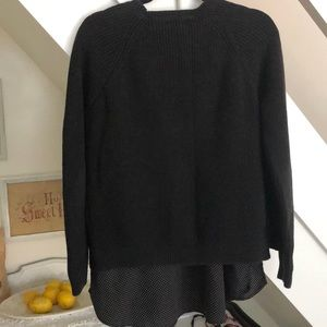 Lauren Black pullover shirt tail Cotton sweater XL